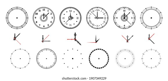 Clock face. Vintage and modern watch dial with decorative and minimal arrows. Roman or Arabic numerals and measurement pointers. Contour chronometers design templates kit. Vector round timepiece set