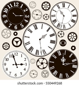 Clock faces with parts. Vector illustration.