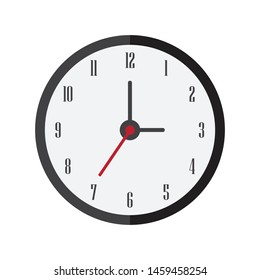 Clock flat icon style, vector illustration on white isolated background.