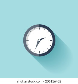 Clock flat icon. World time concept. Business background. Internet marketing. Daily infographic.