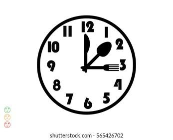 clock, fork, spoon, icon, vector illustration eps10