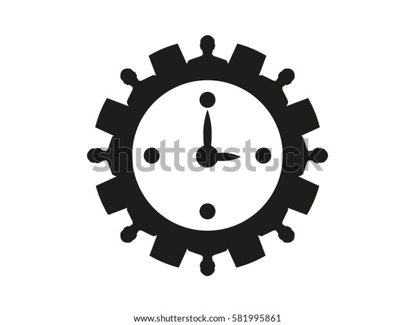 clock, gear circle of people, icon vector illustration eps10
