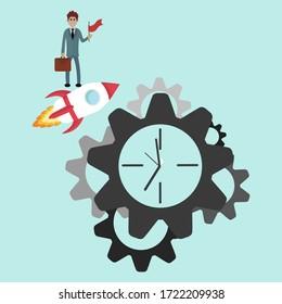 Clock gear icon. Business vector design Businessman run along gear