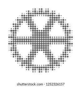 Clock gearwheel halftone dotted icon. Halftone pattern contains circle points. Vector illustration of clock gearwheel icon on a white background.