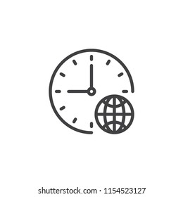 Clock and globe outline icon. linear style sign for mobile concept and web design. World Time simple line vector icon. Symbol, logo illustration. Pixel perfect vector graphics