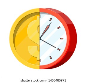 Clock and golden coin. Annual revenue, financial investment, savings, bank deposit, future income, money benefit. Time is money concept. Vector illustration in flat style