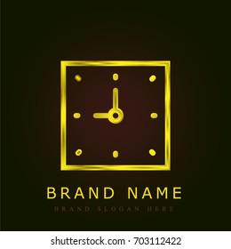 Clock golden metallic logo