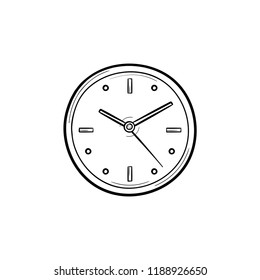 Clock hand drawn outline doodle icon. Time and watch, countdown and clock, clock face and deadline concept. Vector sketch illustration for print, web, mobile and infographics on white background.