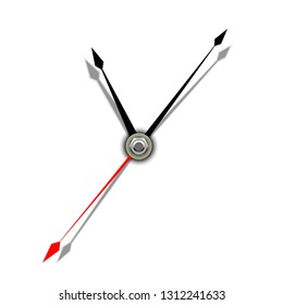 Clock hands. Part of an analog clock, or watch. Vector illustration on white background.