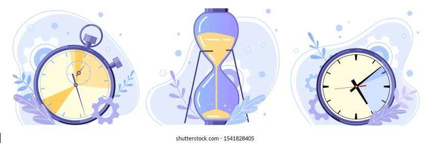 Clock, hourglass and stopwatch. Watch hours, timer countdown and sandglass flat vector illustration set. Time control concept. Sport and home timekeepers. Retro timepiece types pack