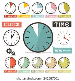 Clock - Hours Vector Set in Flat Design Style