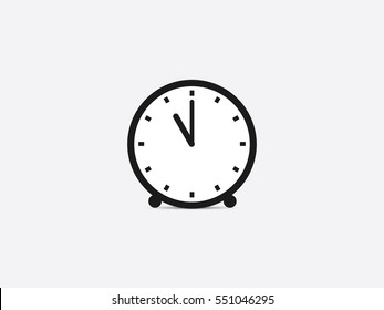 Clock icon, 11 o'clock vector illustration on gray background
