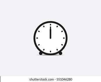 Clock icon, 12 o'clock vector illustration on gray background