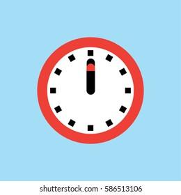 Clock icon, 12 O'clock vector illustration on blue background