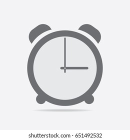 Clock icon. 3 O'clock vector illustration on light gray background.