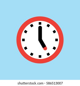 Clock icon, 5 O'clock vector illustration on blue background