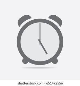 Clock icon. 5 O'clock vector illustration on light gray background.