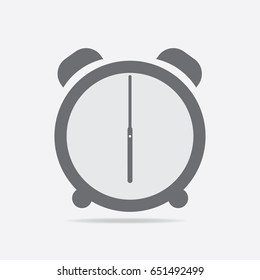 Clock icon. 6 O'clock vector illustration on light gray background.