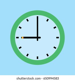 Clock icon. 9 O'clock vector illustration on blue background.
