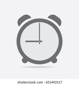 Clock icon. 9 O'clock vector illustration on light gray background.