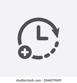 Clock icon with add sign. Clock icon and new, plus, positive symbol. Vector icon