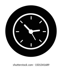 clock icon in black and isolated circle vector illustration
