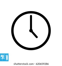 Clock icon , Black thin line clock icon (5 o'clock) - vector illustration