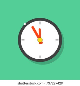 Clock icon color. Clock flat icon. Wall clock on a green background. Clock show 5 minute to 12 am or pm. Five to twelve. 11:55; 23:55. Vector illustration. EPS 10