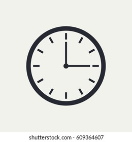 Clock icon design on a light background, flat style. Time icon. Three o'clock. Circle badge, symbol, clock sign for website design. Vector illustration, eps10