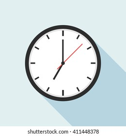 Clock icon design.  Vector office clock icon with shadow. Seven o'clock.