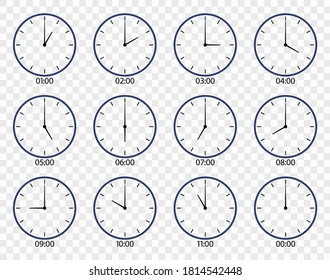 Clock icon. Face of watch on wall. Set of different clocks for time. Line icons of hour and minute with morning, noon, afternoon, evening, midnight oclock. 12 hour in day. Symbol of countdown. Vector.