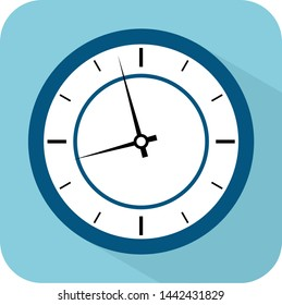 Clock icon. Flat illustration of clock vector icon for web. Time with minutes illustration