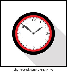 Clock icon flat style with long shadow. Vector illustration