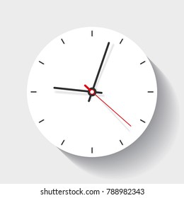 Clock icon in flat style, minimalistic timer on white background. Vector design element for you project