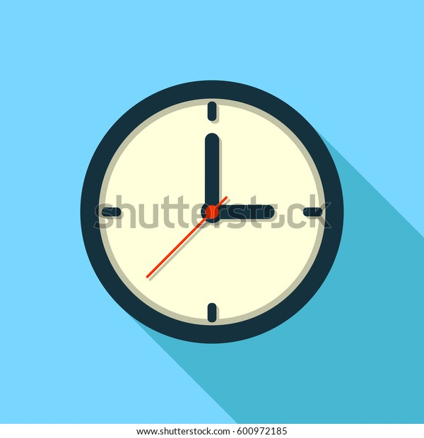 Clock icon in flat style on color background. Vector design.