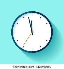 Clock icon in flat style, round timer on blue background. Nearly twelve. Simple watch. Vector design element for you business projects
