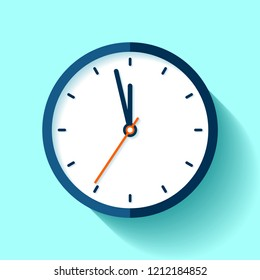 Clock icon in flat style, round timer on blue background. Five minutes to twelve. Simple watch. Vector design element for you business projects