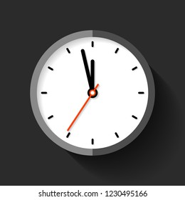 Clock icon in flat style, round timer on black background. Five minutes to twelve. Simple watch. Vector design element for you business projects