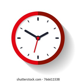 Clock icon in flat style, timer on white background. Red business watch. Vector design element for you project