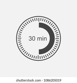 A clock icon indicating a time interval of 30 minutes. thirty minutes on the clock