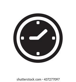 Clock   icon,  isolated. Flat  design.