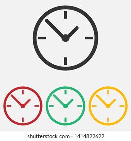 Clock icon isolated on white background. Vector illustration. Eps 10.