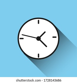 clock icon long shadow icon on blue background