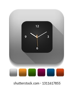 clock icon With long shadow over app button