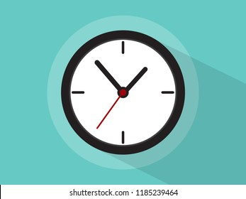 Clock icon with long shadow.vector