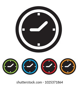 Clock icon. Mechanical watch symbol. Colored flat web icon on white background. Vector