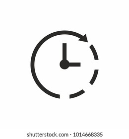 Clock icon on white background. Time symbol. Vector