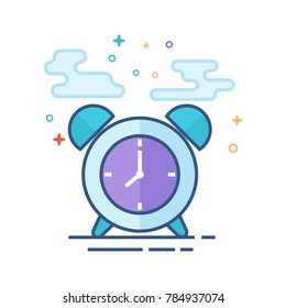 Clock icon in outlined flat color style. Vector illustration.