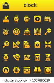 clock icon set. 26 filled clock icons.  Collection Of - Notification, Smartwatch, Clock, Schedule, Time, Speedometer, School, Sketch, Clocks, Sandclock, Settings, Stationery, Minimize
