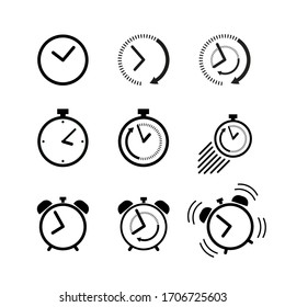Clock icon set. Alarm clock, ringing alarm clock, clock deadline. Wake up or get up concept 1